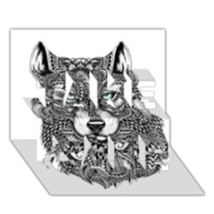 Intricate Elegant Wolf Head Illustration Take Care 3d Greeting Card (7x5)  by Dushan