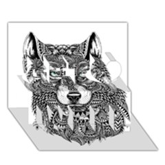 Intricate Elegant Wolf Head Illustration Get Well 3d Greeting Card (7x5)  by Dushan