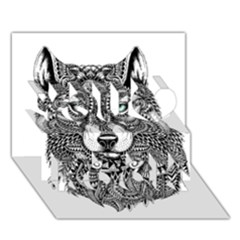 Intricate Elegant Wolf Head Illustration You Rock 3d Greeting Card (7x5)  by Dushan