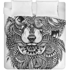 Intricate Elegant Wolf Head Illustration Duvet Cover (king Size)