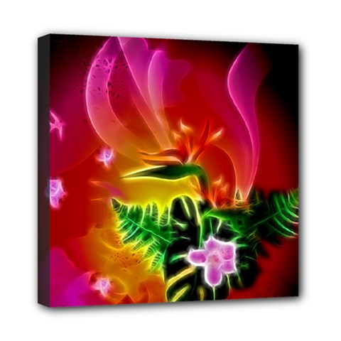 Awesome F?owers With Glowing Lines Mini Canvas 8  X 8  by FantasyWorld7