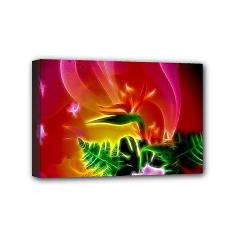 Awesome F?owers With Glowing Lines Mini Canvas 6  X 4  by FantasyWorld7