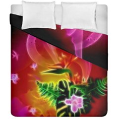 Awesome F?owers With Glowing Lines Duvet Cover (double Size) by FantasyWorld7