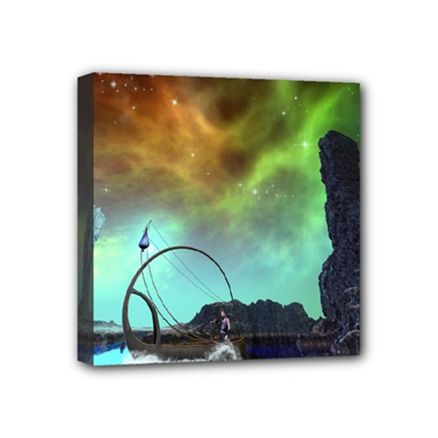 Fantasy Landscape With Lamp Boat And Awesome Sky Mini Canvas 4  X 4  by FantasyWorld7