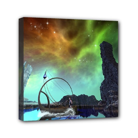 Fantasy Landscape With Lamp Boat And Awesome Sky Mini Canvas 6  X 6  by FantasyWorld7