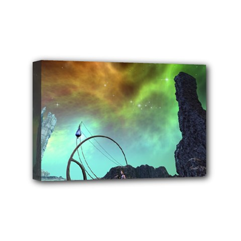 Fantasy Landscape With Lamp Boat And Awesome Sky Mini Canvas 6  X 4  by FantasyWorld7