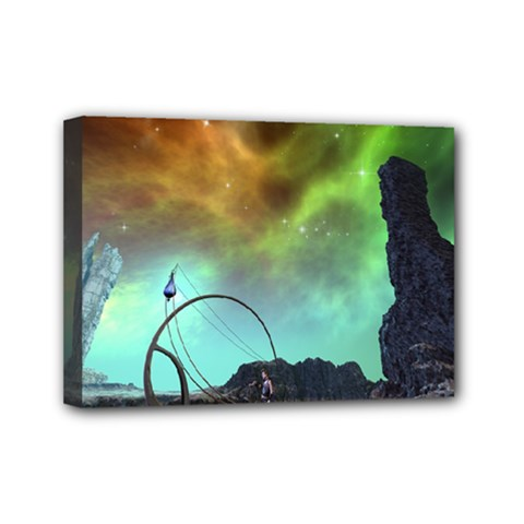 Fantasy Landscape With Lamp Boat And Awesome Sky Mini Canvas 7  X 5  by FantasyWorld7