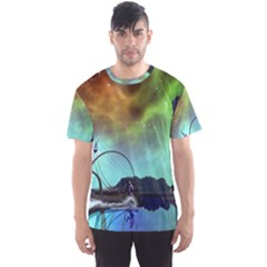 Fantasy Landscape With Lamp Boat And Awesome Sky Men s Sport Mesh Tees by FantasyWorld7