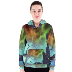 Fantasy Landscape With Lamp Boat And Awesome Sky Women s Zipper Hoodies