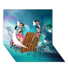 Music, Pan Flute With Fairy Heart 3d Greeting Card (7x5)  by FantasyWorld7