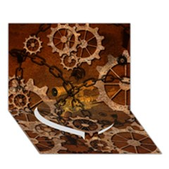 Steampunk In Rusty Metal Heart Bottom 3d Greeting Card (7x5)  by FantasyWorld7