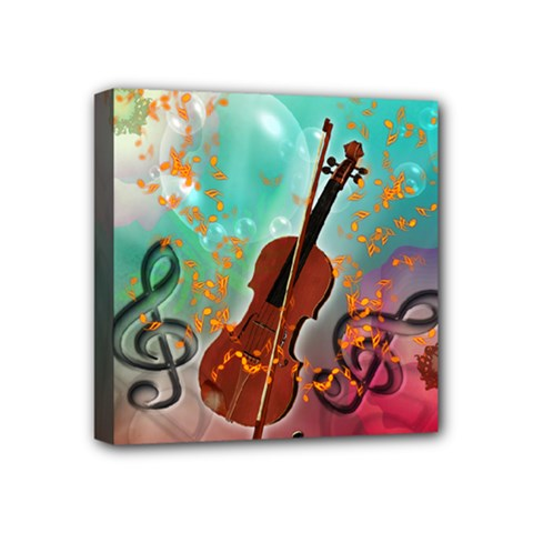 Violin With Violin Bow And Key Notes Mini Canvas 4  X 4