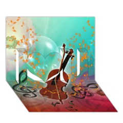 Violin With Violin Bow And Key Notes I Love You 3d Greeting Card (7x5)  by FantasyWorld7
