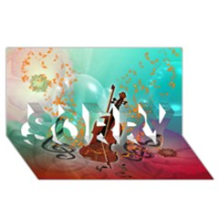 Violin With Violin Bow And Key Notes Sorry 3d Greeting Card (8x4)  by FantasyWorld7