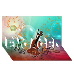 Violin With Violin Bow And Key Notes Engaged 3d Greeting Card (8x4)  by FantasyWorld7
