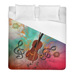Violin With Violin Bow And Key Notes Duvet Cover Single Side (twin Size) by FantasyWorld7