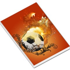 Soccer With Fire And Flame And Floral Elelements Large Memo Pads by FantasyWorld7