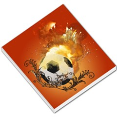 Soccer With Fire And Flame And Floral Elelements Small Memo Pads by FantasyWorld7