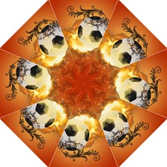 Soccer With Fire And Flame And Floral Elelements Hook Handle Umbrellas (large) by FantasyWorld7