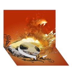Soccer With Fire And Flame And Floral Elelements Circle Bottom 3d Greeting Card (7x5)  by FantasyWorld7