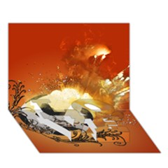 Soccer With Fire And Flame And Floral Elelements Love Bottom 3d Greeting Card (7x5)  by FantasyWorld7