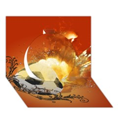 Soccer With Fire And Flame And Floral Elelements Circle 3d Greeting Card (7x5)  by FantasyWorld7
