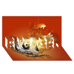 Soccer With Fire And Flame And Floral Elelements Engaged 3d Greeting Card (8x4)  by FantasyWorld7