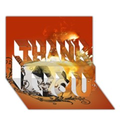 Soccer With Fire And Flame And Floral Elelements Thank You 3d Greeting Card (7x5)  by FantasyWorld7