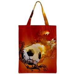 Soccer With Fire And Flame And Floral Elelements Zipper Classic Tote Bags by FantasyWorld7