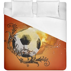 Soccer With Fire And Flame And Floral Elelements Duvet Cover Single Side (kingsize) by FantasyWorld7