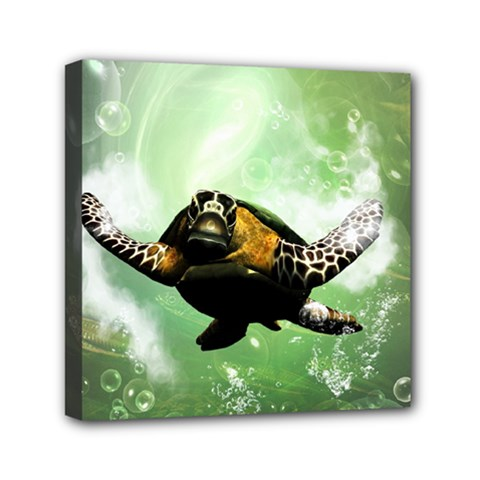 Beautiful Seaturtle With Bubbles Mini Canvas 6  x 6