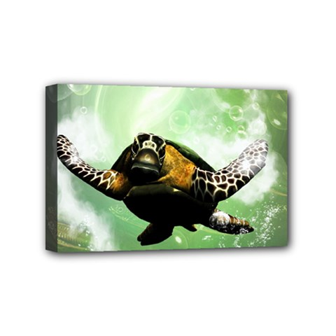 Beautiful Seaturtle With Bubbles Mini Canvas 6  x 4