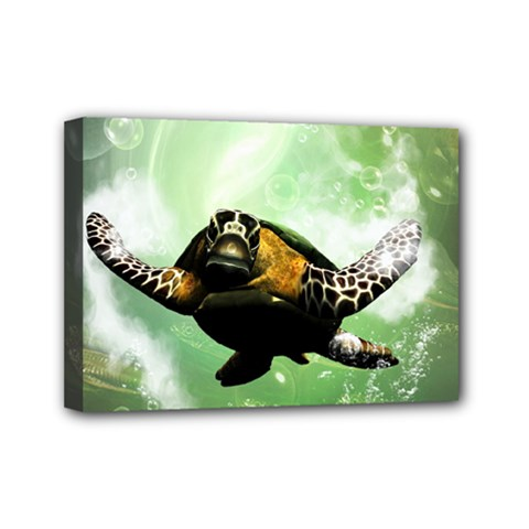 Beautiful Seaturtle With Bubbles Mini Canvas 7  x 5