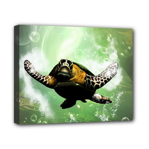 Beautiful Seaturtle With Bubbles Canvas 10  x 8