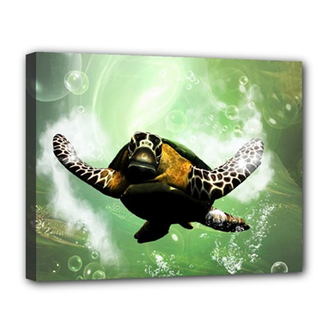 Beautiful Seaturtle With Bubbles Canvas 14  x 11
