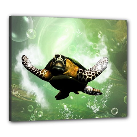 Beautiful Seaturtle With Bubbles Canvas 24  x 20