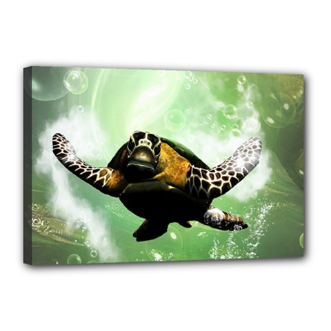 Beautiful Seaturtle With Bubbles Canvas 18  x 12