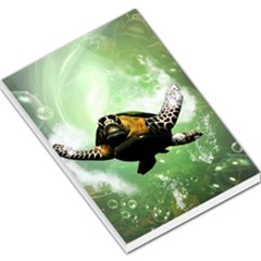 Beautiful Seaturtle With Bubbles Large Memo Pads