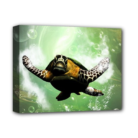 Beautiful Seaturtle With Bubbles Deluxe Canvas 14  x 11
