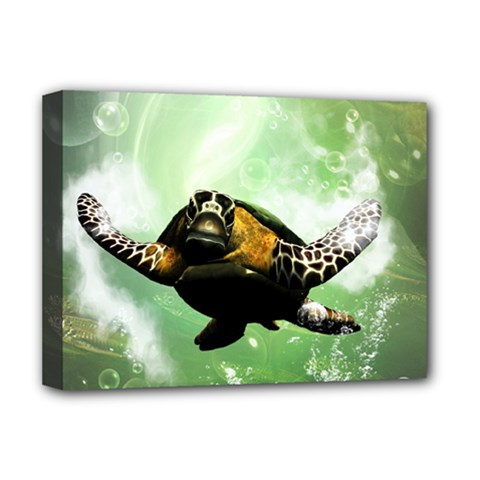 Beautiful Seaturtle With Bubbles Deluxe Canvas 16  x 12