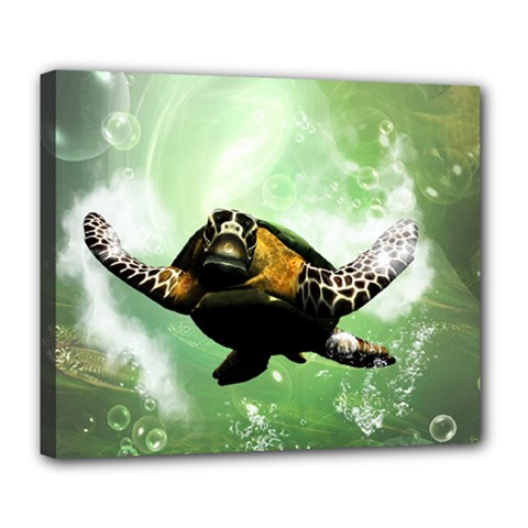 Beautiful Seaturtle With Bubbles Deluxe Canvas 24  x 20