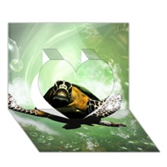 Beautiful Seaturtle With Bubbles Heart 3D Greeting Card (7x5)