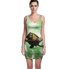 Beautiful Seaturtle With Bubbles Bodycon Dresses