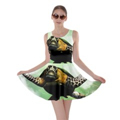 Beautiful Seaturtle With Bubbles Skater Dresses