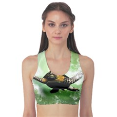 Beautiful Seaturtle With Bubbles Sports Bra