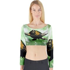 Beautiful Seaturtle With Bubbles Long Sleeve Crop Top