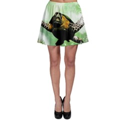 Beautiful Seaturtle With Bubbles Skater Skirts