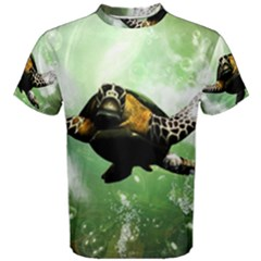 Beautiful Seaturtle With Bubbles Men s Cotton Tees