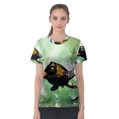 Beautiful Seaturtle With Bubbles Women s Sport Mesh Tees