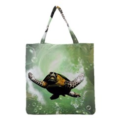 Beautiful Seaturtle With Bubbles Grocery Tote Bags